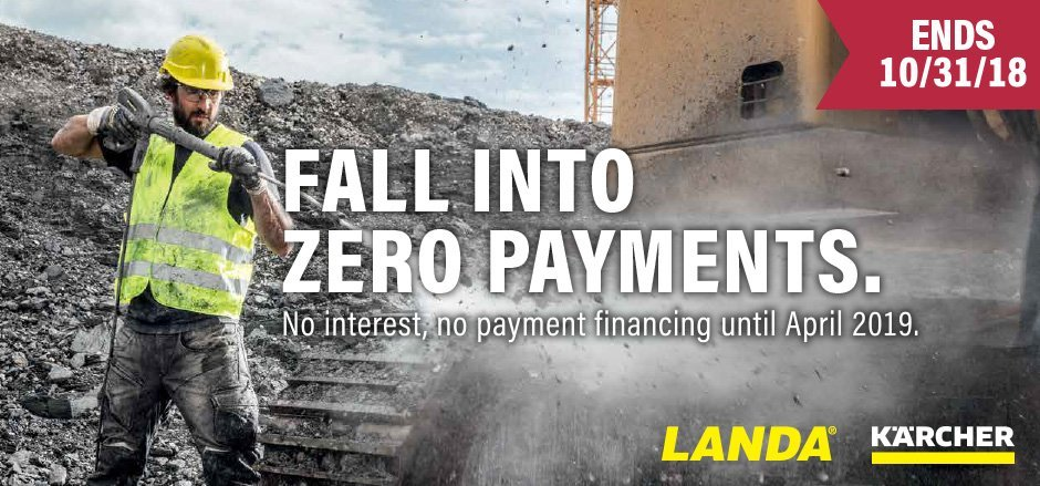 fall into zero payments with landa and karcher banner