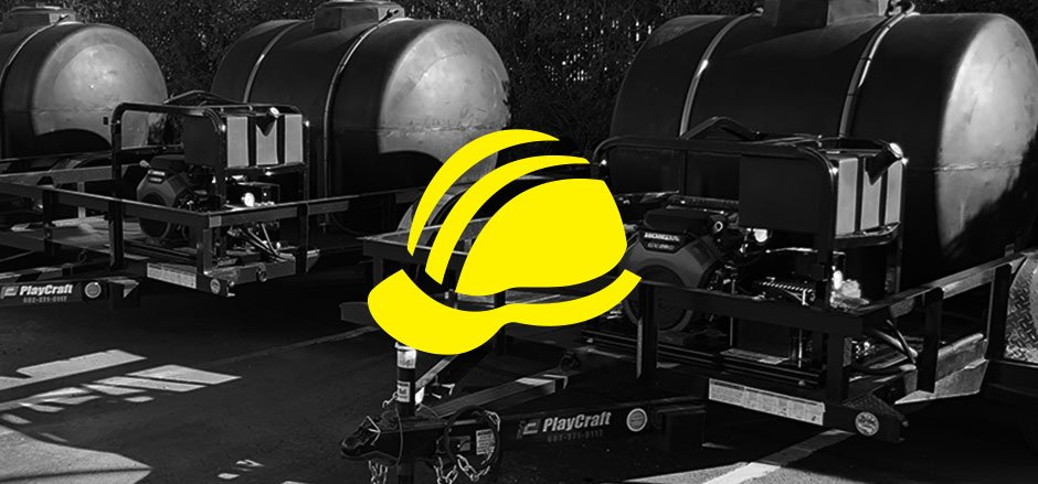 Construction Hard Hat with Custom Wash Trailer Systems