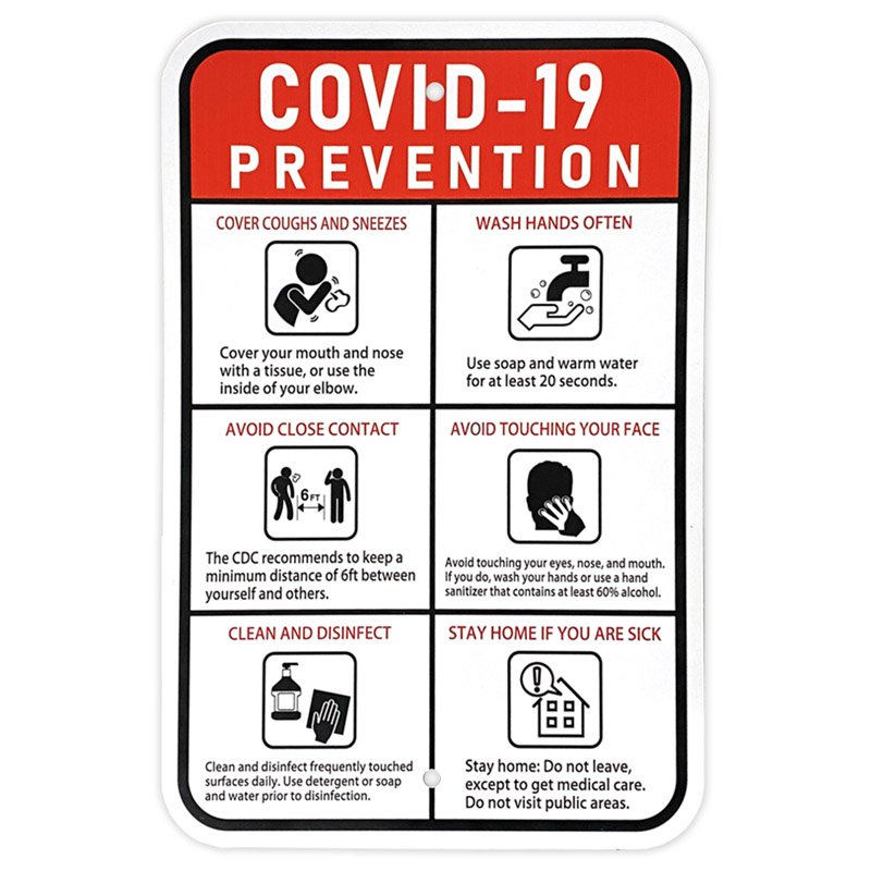 COVID 19 Prevention Sign 12 U0026quot X 18 U0026quot U2014 Signs And Stickers