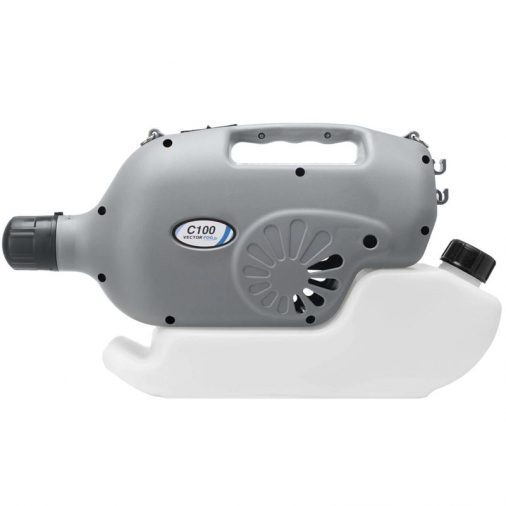Vectorfog C100+ Cordless ULV Fogging Machine for disinfectants, pesticides and more. Side profile image.