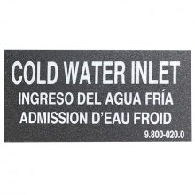 Cold Water Inlet Sticker Label, 9.800-020.0, 10-09003, 646666