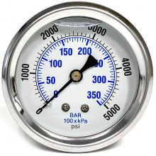 Stainless Steel Pressure Gauge, Back Mounted, 10000 PSI, 9.804-013.0, 348165